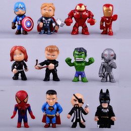 Wholesale batman pvc - 12pcs set new Avengers toys mini the Avengers Figures PVC model Batman Hulk Thor action Toys Super hero toys gifts for boys
