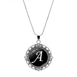 26 English Letters Glass Gems Pendant Necklace Silver Fashion Jewelry Round Cabochon Snake Chain Necklace Women Kids Gift от