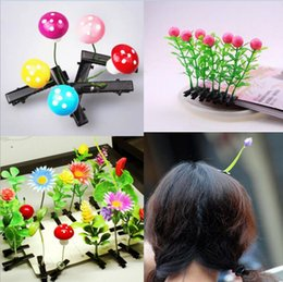 Wholesale Planting Bean Sprouts - Newest 50pcs Novelty Plants Grass Fashion Hair Clips Solid Headwear Small Bud Antenna Lucky Grass Bean Sprout Mushroom Party Hair Pin Hd3401