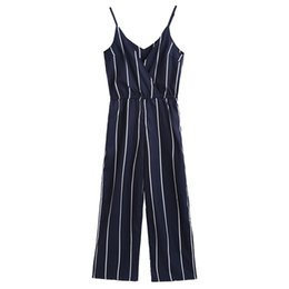 striped jumpsuits for women Coupons - 2018 Elegant Women Striped Surplice Spaghei Strap Jumpsuit Casual Halter V Neck High Waist Playsuit Overalls For Women
