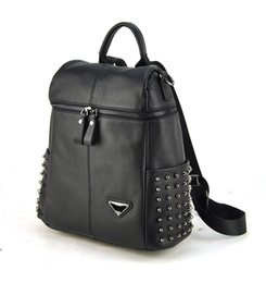 Wholesale Designer Bags Studs - Women Genuine Real Leather Backpack Punk Studs Shoulder Bags Fashion Lady Purse School Book Bag Daily Casual Brand Designer