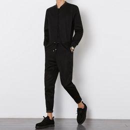 Overalls hosen lange ärmel online-Männer Slim Fit Casual Jumpsuit Mode Langarm Overalls Hose Männlich Elegante Pluderhosen Lange Hosen Street Hip-Hop Overall
