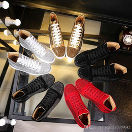 Wholesale Famous Leather Shoes - Wholesale 2017 men women rhinestone high top shoes famous designer brand red bottom Sneakers mens loubbis shoes with box and dustbag