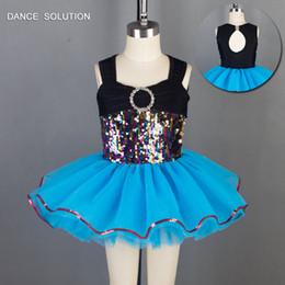 jazz leggero blu Sconti 2019 nuovo arrivo colore paillettes corpetto superiore con luce blu mare tulle balletto tutu kid danza costume balletto tutu jazz / tap dance