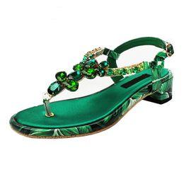 Wholesale t shaped heels shoes - Bohemia new summer Green Crystal Flower Sandals Women Rhinestone T-shaped buckle Square Low heel Summer Flip flops Beach Shoes