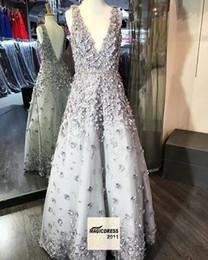 Wholesale Floral Water Picks - Garden Sweety Elegant Prom Dresses 2018 A Line V Neck Backless Sleeveless Floor Length 3D-Floral Appliques Ladies formal tuxedo