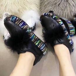 Wholesale Real Leather Ballet Flats - Graffiti Lady Ballet Flats Shoes Platform Loafers Feminino Real leather Feather Colorful Casual Shoes T Show Party Women Shoes Autumn