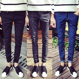 Wholesale Tight Jeans Thin - XMY3DWX Fashionable male high grade pure cotton jeans Men tight Leisure thin leg pants Premium solid-colored pencil pants 27-36