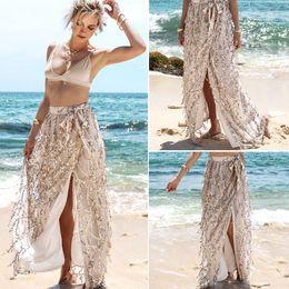 Wholesale long summer skirts for women - Summer Women Skirts 2018 Gold Sequin Long Split Skirt Beach Dress for womens hight waist Fashion