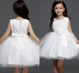 Wholesale pure white flower girl dresses - 2018 Pure Color Simple Custom Made Flower Girl Dresses Jewel Sleeveless Appliques With Bow Sashes Zipper Back Kids Formal Wear Girl Dresses