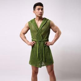 Sexy sehen durch roben online-Sexy Roben für Männer Sommer elastische Nylon-Mesh-Robe Männer mit Kapuze Bademantel Robe sexy Nachtwäsche Männer Homosexuell Sex durch Kleidung sehen