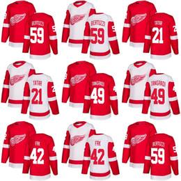 2018 New Brand Adults Detroit Red Wings 21 Tomas Tatar 42 Martin Frk 49  Eric Tangradi 59 Bertuzzi White Red Ice Hockey Jerseys Accept Custom ab2ce6626