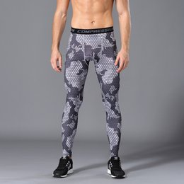 2f29a710c2 Outdoors men camouflage compression tights Leggings Running sports Gym male  trousers capris of fitness pants of quick-drying blue camouflage leggings  ...