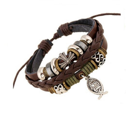 Wholesale Vintage Indian Bead Bracelet - 20PCS New Fashion Silver Cross Christian Jesus Fish Jewelry Leather Bracelets Vintage Wooden Beads Multilayer Women Men Bracelets