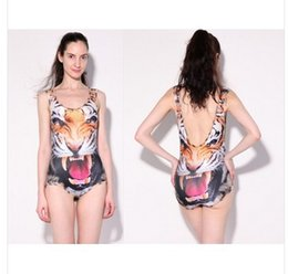 Wholesale ferocious animals - New Fashion 3D Color Printed Swimming Suit Women Animal Print Swimwear One Piece Women Ferocious Tiger Swimsuits Free Shipping
