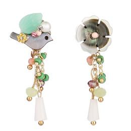 Wholesale Natural Shell Chandelier - Classic Shell Flowers Asymmetric Bird Natural Stone Earrings Women Elegant Earrings Luxurious Jewelery Free Shipping D616S