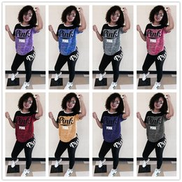 Wholesale Casual Camping - Fashion Short Sleeve Letter Printing Two Piece Set Short Sleeve Print Letter Casual Lady Set Sport Sweatsuit EEA30
