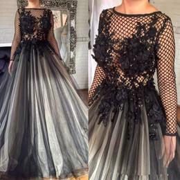 Wholesale Sexy Images Net - 2018 Gorgeous Black 3D Florals Appliques Formal Prom Dresses Pleated Nets Long Sleeve Dubai Arabic Muslim A Line Evening Party Gowns