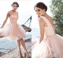 Wholesale one shoulder sequin mini dress - Delicate Blush Pink Short Bridesmaid Dresses One Shoulder Lace Tulle Beading Corset Backless Wedding Party Dress Bridesmaid Gowns