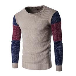 Maglione di blocco di colore degli uomini online-Uomo nuovo 2018 moda manica lunga girocollo color block maglione pullover maglione top