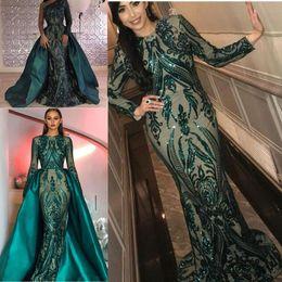 Vestito da promenade sirena kim kardashian online-Hunter Green Paillettes Prom Abiti da cerimonia con treno staccabile Gonna Puffy di lusso Sirena Kim kardashian Dubai Abito da sera arabo