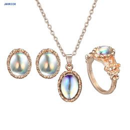 Pingente de pingente de opala on-line-Luxo Pedra Opal Oval Gem Pingente Colar Pulseiras Jóias Set Novo Design De Vintage Antique Antique Jewelry Sets Set