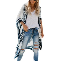 wholesale kimonos Coupons - New Kimono Women Cardigan Printed Batwing Sleeve Long Blouses Loose Cover Up Summer Tops Ladies Boho Shirts Tee Beach Blusas