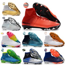 Wholesale Light Blue Ankle Boots - Hot Items Mens High Ankle Boots CR7 Mercurial Superfly V SX Neymar FG Shoes Cristiano Ronaldo ACC Superflys 5 Outdoor Cleats