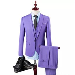 мужчины пальто обеда Скидка Мужской костюм из трех частей костюм (пальто + брюки + жилет) свадебное вечернее платье сплошной цвет мужской костюм европейского и американского стиля