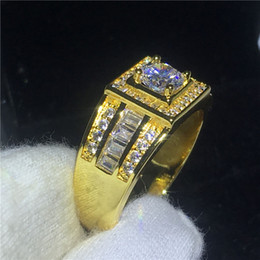 Wholesale Men Yellow Gold Wedding Ring - 2018 Solitaire Male ring 10KT Yellow Gold Filled Engagement wedding bands rings for men gs for women men Pave setting AAAAA zircon cz Bijoux