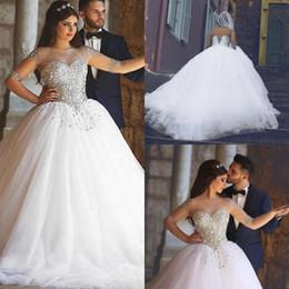 2019 abito elegante 2019 Chic Ball Gown Abiti da sposa Per la sposa Abiti da sposa Pizzo mezza manica Lace Up Beads Perle Cristalli robe de mariage vestido de noiva abito elegante economici