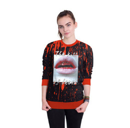 Rote hoodie-designs online-Red Blood Lip Design Hoodies Männer Frauen Halloween 3D Gedruckt Party Cosplay Sweatshirts