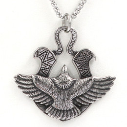 eagle hawk pendant Canada - New High Quality Punk Biker Silver Color Titanium Stainless Steel Animal Eagle Hawk Wing Pendants Necklace for Men Jewelry