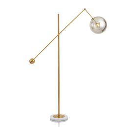 Мраморные полы онлайн-Светодиодные торшер современное внутреннее освещение гостиной светильники Morden свет металла гальванических стеклянный шар абажур мраморное основание