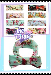 Wholesale Wholesale Fashion Accessory Scarf - Fashion childrens baby print cross bow Hair Clips Headband popular children's Bohemian scarf new children's Hair Accessories 0205014
