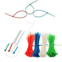 Lazos de alambre blanco online-Venta al por mayor 100/150/200/300 mm Nylon Cable Ties Autoblocante Zip Tie Industrial Wire Fastener - Negro / Azul / Amarillo / Verde / Rojo / Blanco Color elige