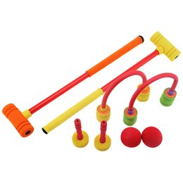 Wholesale Golf Toys - Wholesale-Kids Colorful Foam Croquet Set Portable Sport Toy For Children Great Indoor And Outdoor Sports Game High Quality Gift To Kids