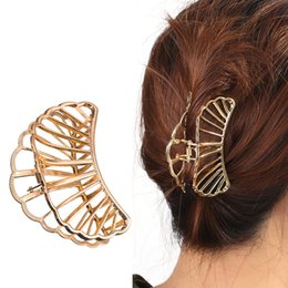 accessorio dei capelli del ventilatore Sconti 2018 new Fashion Fan a forma di donna Large Hair Claw Clamps Piccola clip di capelli Butterfly Claws Morsetti Accessori Bathing hairpin