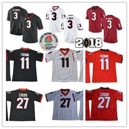 Wholesale Roses Bowl - Georgia Bulldogs 2018 Rose Bowl Championship #3 Roquan Smith 11 Jake Fromm 27 Nick Chubb White Red Black Stitched College Football Jerseys