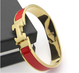claw bar Promo Codes - Women's H Bangles Luxury Stainless Steel Enamel charm Bracelets Bangle H Letter Buckle High quality Bracelets.