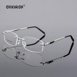 2019 diamante sem aro Diamante Aparado Óculos Homens Sem Aro Óculos de Armação Mulheres Qualidade Optical Anti-azul óculos de Luz Miopia Óculos de Armação s506