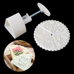 Mooncake werkzeuge online-6 Stücke Fan Form Blume Mond Kuchen Briefmarken Mould Pastry Mooncake Hand DIY Werkzeug