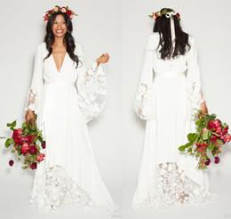 Vestido de boda del país del vestido de boda del Hippie Boho del cordón de la gasa de las faldas acampanadas desde fabricantes
