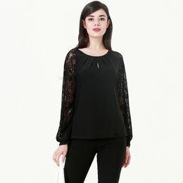 d559610bcab plus size sheer chiffon blouse Coupons - Plus Size Semi Sheer Patchwork Lace  Lantern Sleeve Women