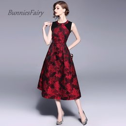 2019 inverno fantasia sereia BunniesFairy 2018 Celebridade-Inspirado Vintage Elegent Pesado Floral Bordado Stiching Jacquard Vestido De Cintura Alta Robe Vestidos