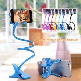 Morsetto a braccio flessibile online-Supporto per cellulare universale 360 rotazione supporto flessibile braccio lungo pigro staffa morsetto letto pigro tablet auto selfie clip per iPhone Samsung