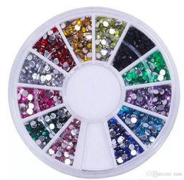 Wholesale Nail Deco - Nail Art Glitter Tip 2mm Rhinestone Deco With Wheel 1200 Pcs set Free Shipping 500set lot