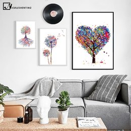 Wholesale Flowering Trees Pictures - Wholesale-Watercolor Plant Trees Flower Canvas Poster Abstract Minimalist Art Painting Wall Picture Print Modern Home Room Decoration