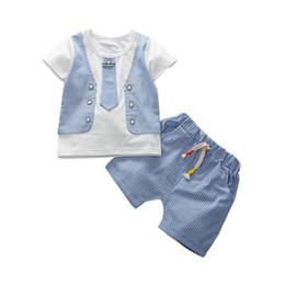 Wholesale Boy Set Fake - Children Boys Girls Short Sleeve Fake Vest T-shirt Pants 2Pcs Sets Baby Casual Style Clothing Sets Summer Fashion Infant Outfits