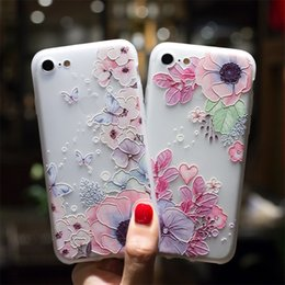 Wholesale flower case for iphone - 3D Relief Emboss Flower Phone Case For IPhone X Sexy Girly Matte Soft Silicone TPU Cover For IPhone 6 6S 7 8 Plus